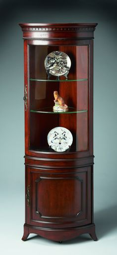 Sophisticated Corner Cabinet for Your Furniture Ideas: Appealing Cherry Wooden Corner Corner Cabinet As Curio Cabinets With Curved Glass Doors As Antique Display Storage Ideas