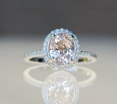 2.2ct Oval champagne peach sapphire diamond ring 14k white gold ring engagement ring on Etsy, $2,419.75