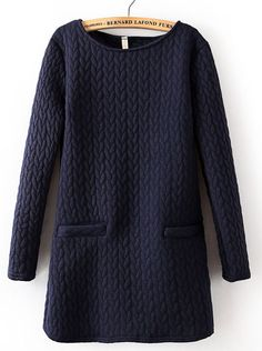 Navy Long Sleeve Cable Pattern Pockets Sweatshirt - Sheinside.com