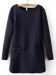 Navy Long Sleeve Cable Pattern Pockets Sweatshirt - Sheinside.com