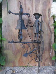 Antique Figural Iron Mechanical Doorbell Garden Gate Bell 19Th Century