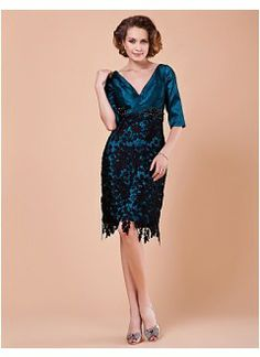Attractive Sheath V-neck Knee-Length Taffeta and Lace Mother of the Bride Dress