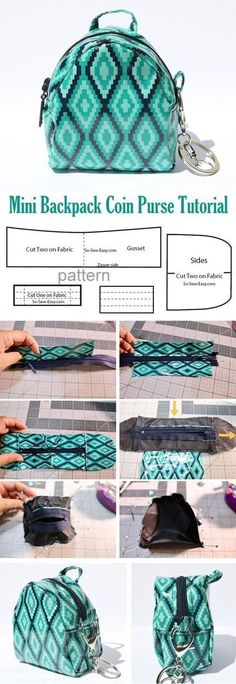 Mini Backpack Coin Purse Pattern & Tutorial ~ How to sew for beginners. Sewing … Mini Backpack Coin Purse Pattern & Tutorial ~ How to sew for beginners. Step by step illustration tutorial. Backpack Tutorial, Coin Purse Tutorial, Diy Backpack, Wallet Tutorial, Diy Coin Purse, Coin Bag, Coin Purses, Mini Mochila, Coin Purse Pattern