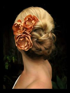 Dalila bridal hair accessories, light golden orange satin flowers with rhinestone centers, bridal hair accessories, bridal hair flowers Hair Accessories Bride Hairstyles, Pretty Hairstyles, Style Hairstyle, Wedding Hair And Makeup, Hair Makeup, Bridesmaid Hair Accessories, Bridal Hair Flowers, Satin Flowers, Flower Hair