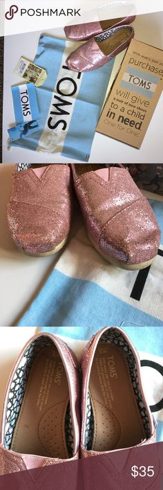 Sparkly pink glitter TOMS Worn once. Bottoms are dirty, but otherwise perfect condition. With original box, dust cover, TOMS sticker & tag (not attached) TOMS Shoes