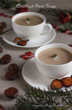 Chestnut-Pear Soup a well-balanced delicious harmony between chestnuts pears pear cider and chili. The perfect soup for a special dinner Pear Cider, Red Chili, Pears, Stew, Blueberry, Vegan Recipes, Dishes, Cooking, Tableware