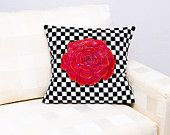 Blooming red rose hand painted on a black and white textile pillow  Beautiful present for everyone!  Made by Slavica Koceva.