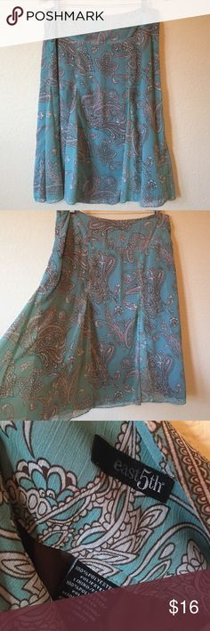 """East 5th Paisley Skirt New condition! Super cute and flowing. Fully lined. Side zipper. Length is 27"""" East 5th Skirts Midi"""