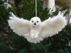 Needle Felted Flying Owl Christmas Tree Ornament,  Advent Series 2014