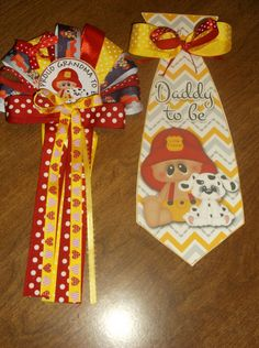 Fireman Baby shower corsages  Grandma pin on corsage and  Daddy's Tie corsage by TheFlowerExperts on Etsy