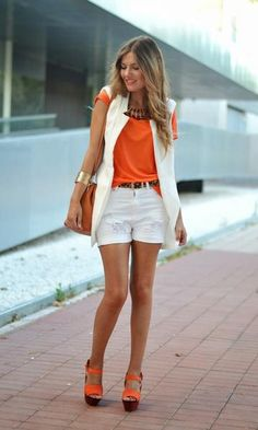 Look White And Orange!! Moda 2017, laranja em alta...