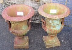 Pair 19th century French cast iron urns - gorgeous colour!