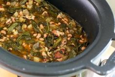 Black-Eyed Peas and Greens From Your Slow Cooker: Black-eyed peas with collard greens in the slow cooker.