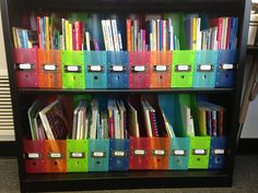 Organize school counseling books by topic in magazine files. It's a great way for you, and teachers, to quickly find what you need. It's also a great way to determine which topics you need more resources for.