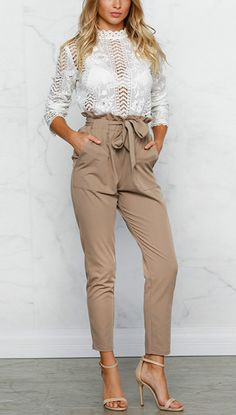 Try this pencil pants on. The pants feature ruffle high waist, belt decoration, side pockets, solid color and slim fit.