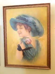 EDWARDIAN WOMAN FEATHER HAT WOOD FRAMED PRINT- HAUNTED GHOST FACE IN PIC in Art | eBay