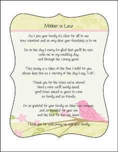 Mother in Law Poem card great addition to a personalized wedding handkerchief. $3.00, via Etsy.