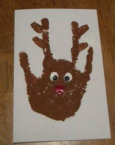 A handprint reindeer looks cute on a handmade card