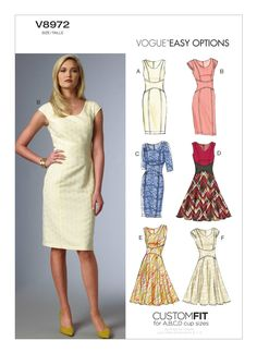 Sz - Vogue Dress Pattern - Misses' Curved-Waistband Dresses in Six Variations - Vogue Easy Options - Vogue Patterns Vogue Patterns, Dress Sewing Patterns, Skirt Patterns, Summer Dress Patterns, Skirt Sewing, Coat Patterns, Blouse Patterns, Clothes Patterns, Miss Dress