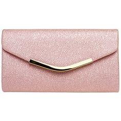 aef63b978e CASPAR TA370 Sac à main clutch enveloppe élégant pour femme - Pochette de  soirée avec longue chaînette Couleur:fuchsia;Taille:One Size