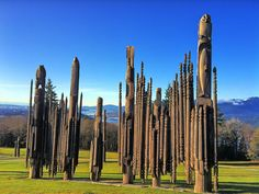 While these wooden totems bear a striking resemblance to First Nations artwork of British Columbia, their actual origins lay on the opposite side of the Pacific Ocean