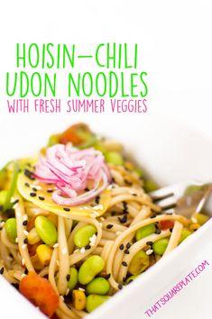 Udon noodles tossed