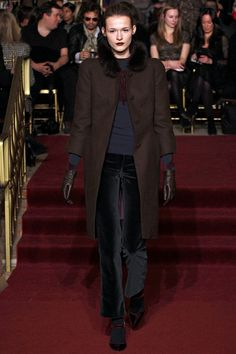 Zac Posen's color palette of burgandy, navy and brown showed us exactly what fall is all about. #nyfw