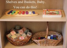 Creating a Montessori environment in your home doesn't have to be overwhelming!  Start with toys on shelves and in baskets.  Montessori for Beginners from www.montessorimischief.com