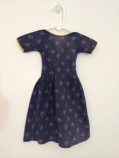 Antique Primitive Blue Calico Doll Dress by GretasPlace on Etsy