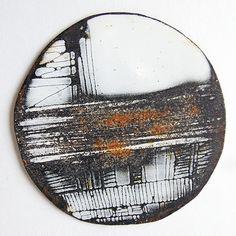 Amanda Denison brooch. Enamel and rusted steel.