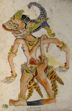 Hanuman (हनुमान) and the Fish Princess (मछली राजकुमारी); Wayang kulit (shadow puppet illustrations), Java, 19th century.