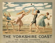 'The Yorkshire Coast', colour lithograph poster designed by Dame Laura Knight and issued by the London and North Eastern Railway, Great Britain, ca. Posters Uk, Railway Posters, Poster Prints, Train Posters, Retro Posters, Art Prints, British Travel, British Seaside, British Summer