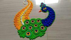 Very easy peacock rangoli - Simple Craft Ideas Easy Rangoli Designs Videos, Easy Rangoli Designs Diwali, Rangoli Simple, Simple Rangoli Designs Images, Free Hand Rangoli Design, Small Rangoli Design, Rangoli Ideas, Diwali Rangoli, Beautiful Rangoli Designs