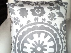 Pillow Cases Decorative Pillows Accent Pillows Throw Pillow Cushion Covers Gray White Suzani BOTH SIDES - Pair of Two 18 x 18