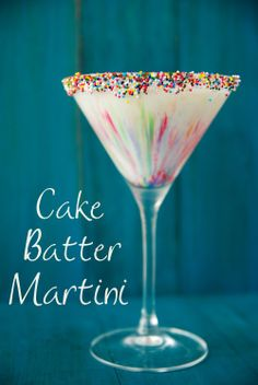 Cake Batter Martini  ingredients: 3 ounces Three Olives Cake Vodka 3 ounces white/clear creme de cacao 2 ounces amaretto 2 ounces heavy whipping cream 1 ounce Godiva white chocolate liqueur sprinkles (I used nonpareils)  directions: Place sprinkles on a shallow plate that is a little larger than the mouth of your martini glass. Dampen a