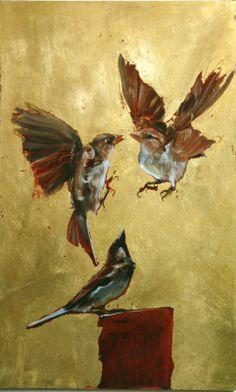 Eva de Visser – Title: Drive (Drift). Oil on wood, gold foil. W: 29 cm x H: 40 cm. 2011