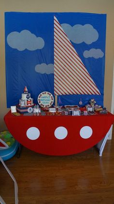 Sean setter. Table scape. Sailboat. Nautical