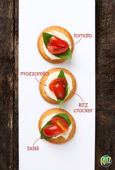 Caprese salad on a RITZ cracker? Yes, please! Just top a RITZ with mozzarella, a sliced cherry tomato, and a small basil leaf for an easy snack that will be a hit with all your holiday party guests!