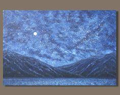 BARCO LIBRE gran pintura abstracta, nocturno Resumen semi pintura, impresionista, montañas de pintura de paisaje de cielo de noche estrellada, vía Láctea