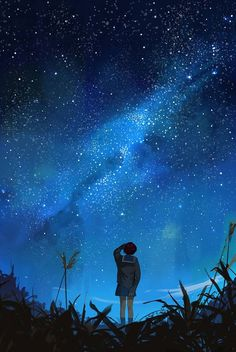 Could always see the stars at night where I grew up and wanted to paint something inspired by that Anime Night, Sky Anime, Anime Stars, Anime Galaxy, Wallpaper Animes, Anime Scenery Wallpaper, Anime Artwork, Night Sky Wallpaper, Galaxy Wallpaper