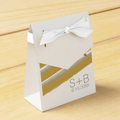 Yellow and Gray Watercolor Stripes Wedding Party Favor Box
