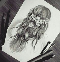 Shared by Sophie Smit. Find images and videos about hair, art and black and white on We Heart It - the app to get lost in what you love. Girl Drawing Sketches, Girly Drawings, Cool Art Drawings, Pencil Art Drawings, Amazing Drawings, Beautiful Drawings, Amazing Art, Easy Realistic Drawings, Beautiful Images