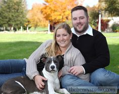 Engagement portrait with dog