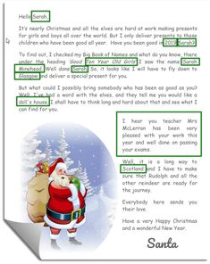Santa Letter Showing Personalisation Free Letters From Santa, Personalized Letters From Santa, Red Christmas, Christmas Stockings, Christmas Stuff, Christmas Cookies, Elf Letters, Santa Letter Printable, Large Gift Bags