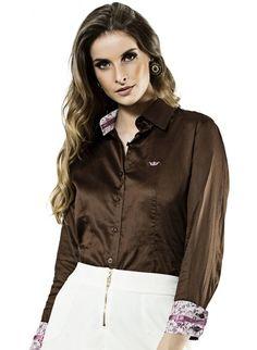 camisa marrom feminina principessa fabricia brilho acetinado