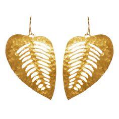 hammered leaf earrings - wendy mink.