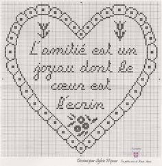 L'amitié Cross Stitch Heart, Cross Stitch Cards, Needlework, Embroidery, Deco, Crochet, Monochrome, Stitches, York