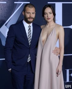 """Cast members Jamie Dornan and Dakota Johnson attend the """"Fifty Shades Darker"""" premiere at the Ace Hotel Theatre in Los Angeles on February… Dakota Johnson Style, Dakota Mayi Johnson, Sexy Outfits, Sexy Dresses, Fashion Outfits, Elizabeth Olsen, Hollywood Celebrities, Sexy Hot Girls, Jamie Dornan"""