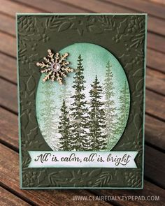 Stampin' Up! Christmas card featuring Wonderland stamp set and Bells & Boughs embossing folder. By Claire Daly at www.clairedaly.typepad.com