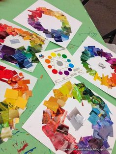 magazine collage color wheels  great group project www.colorandcollage.blogspot.com